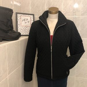 Gallery Petites Front Zipper Quilted Black Jacket